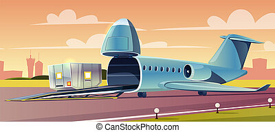 Loading container on cargo airplane cartoon