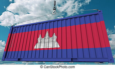 Loading container with flag of Cambodia. Cambodian import or export related conceptual 3D rendering