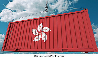 Loading container with flag of Hong Kong. Import or export related conceptual 3D rendering