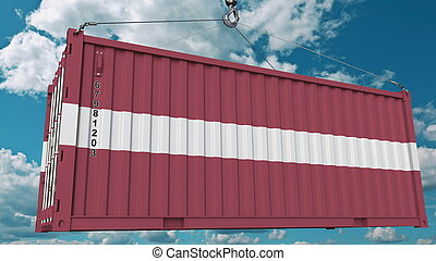 Loading container with flag of Latvia. Latvian import or export related conceptual 3D rendering