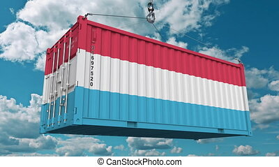 Loading container with flag of Luxembourg. Luxembourgian import or export related conceptual 3D animation