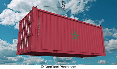 Loading container with flag of Morocco. Moroccan import or...