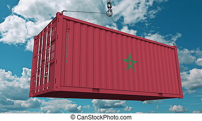 Loading container with flag of Morocco. Moroccan import or export related conceptual 3D rendering