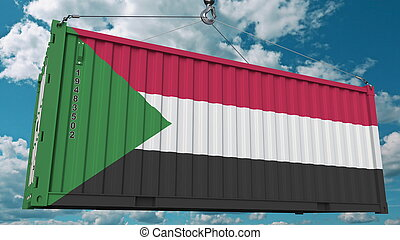 Loading container with flag of Sudan. Sudanian import or export related conceptual 3D rendering