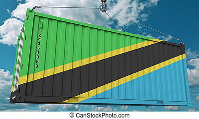 Loading container with flag of Tanzania. Tanzanian import or export related conceptual 3D rendering