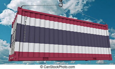 Loading container with flag of Thailand. Thai import or...