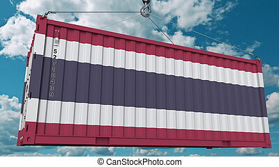 Loading container with flag of Thailand. Thai import or export related conceptual 3D rendering