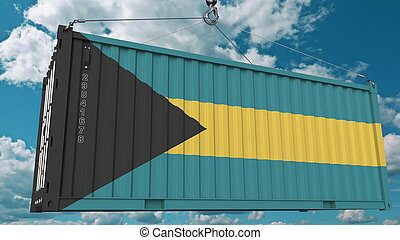 Loading container with flag of the Bahamas. Bahamian import or export related conceptual 3D rendering