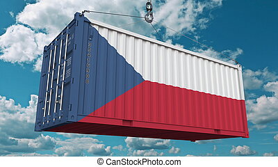 Loading container with flag of the Czech Rebublic. Import or export related conceptual 3D rendering