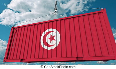 Loading container with flag of Tunisia. Tunisian import or...