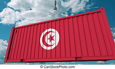 Loading container with flag of Tunisia. Tunisian import or export related conceptual 3D rendering