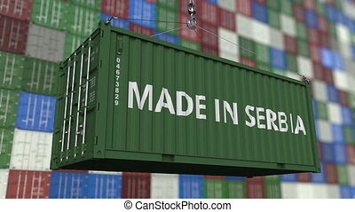 Loading container with MADE IN SERBIA caption. Serbian...