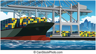 Loading containers on a large container ship