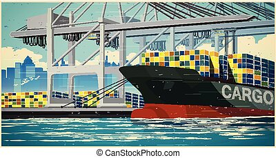 Loading containers on container ship retro poster