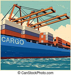 Loading containers retro poster