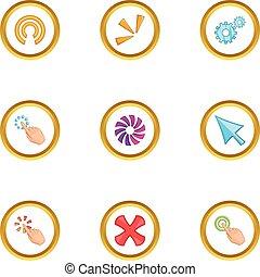Loading cursor icons set, cartoon style