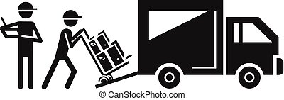 Loading delivery truck icon, simple style