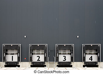 Loading bay with numbers for loading and unloading trucks