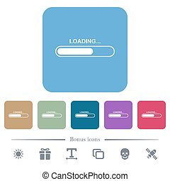 Loading flat icons on color rounded square backgrounds