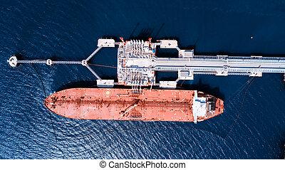 loading., huile, tanker.