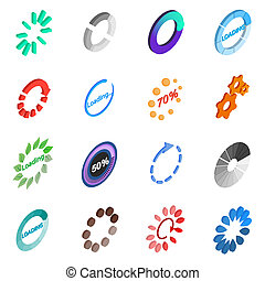Loading icons set, isometric 3d style
