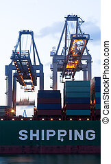 Loading of a sea-going cargo ship - The continuous loading...