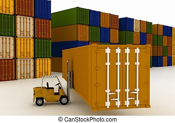 Loading of container in on white background