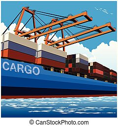 Loading of containers by large port cranes