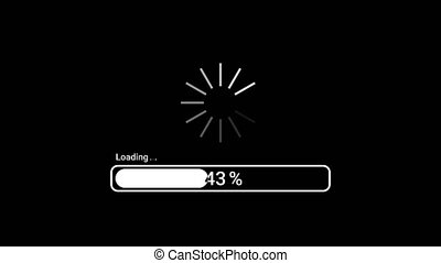 Loading or progress bar. Uploading data dynamic percent indicator from 1 to 100. Fast network connection