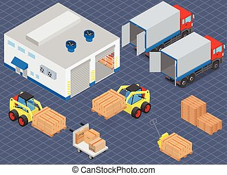 Loading or unloading a truck in the warehouse. Forklifts move the cargo. Warehouse equipment. Isometric vector illustration.