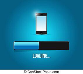 Loading phone updates illustration design