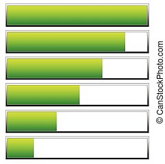 Loading, progress bars, indicators. Levels from low to high. editable vector
