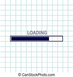 Loading progress status bar icon. Web design app download timer. Notebook paper texture cell Squared blank sheet of copybook white background. Flat trendy element.