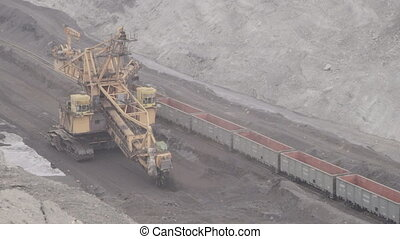 Loading rail cars a bucket wheel excavator for mining....