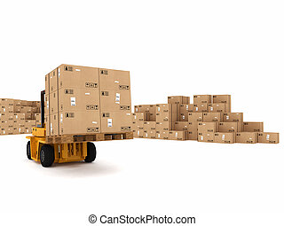 Loading stack of boxes - Small crane loading stack of packed...