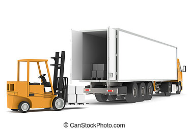 Loading the Truck - Forklift loading a Trailer. Part of...