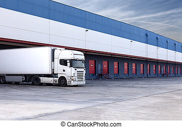 loading truck -  truck loading at a warehouse building.