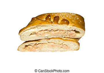 Loaf in the form of fish. Fish-shaped cake on white background.