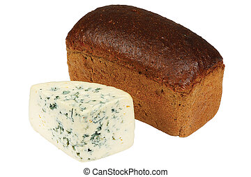 Loaf of bread and cheese on white background