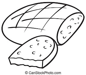 Loaf of Bread - Black and White Cartoon illustration, Vector