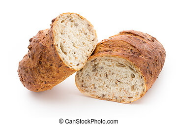 Loaf of bread isolated on white.