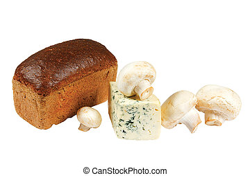 Loaf of bread, mushrooms and cheese on white background