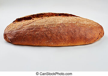 Loaf of bread on white background.