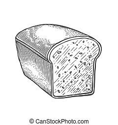Loaf of bread. - square bread, cut off. Vector black hand...