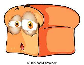Loaf of bread with sad face illustration