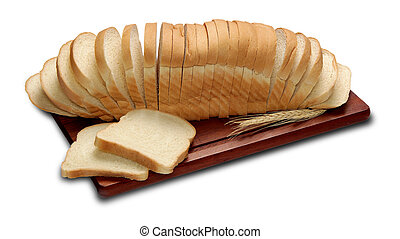 Loaf of bread with think cut slices isolated on a white background