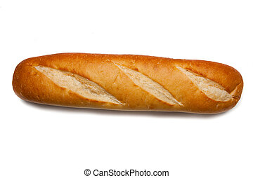 A loaf of french bread on a white background
