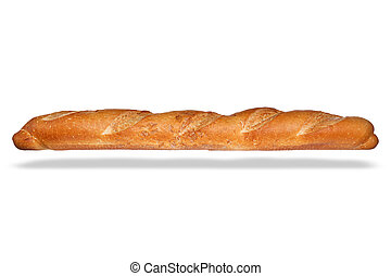 Loaf of French bread isolated on awhite background.