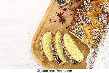Loaf of fresh sliced sweet bread
