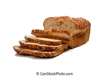 Loaf of whole grain bread - A loaf of whole grain bread on a...